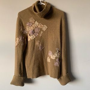 Vintage Express cowl neck embellished sweater